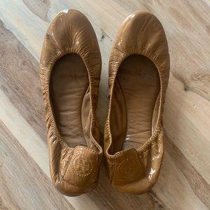 Tory Burch Patent Leather Tan Eddie Ballet Flats